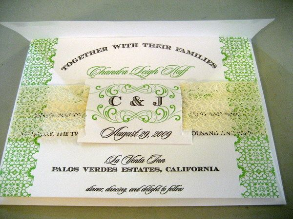 Our invitation suite put together with the belly band and monogrammed tag.