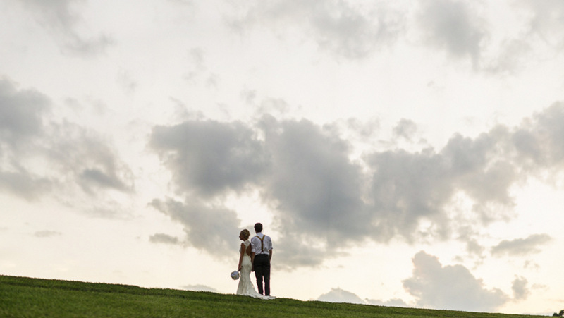 couple at sunset in this handmade North Carolina wedding