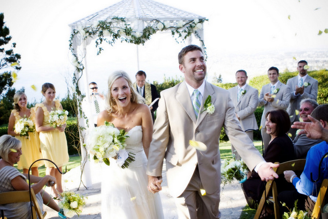 wedding ceremony recessional shot of chandra fredrick and husband; photo by jennifer roper