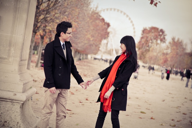 engagement photo in paris with a pop of color